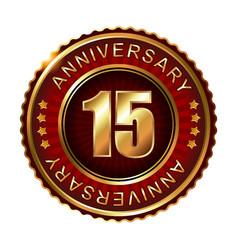 15 years anniversary golden label vector image vector image