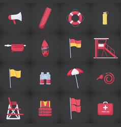 Lifeguard equipment kit flat icons set vector