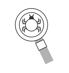 Magnifying glass with bug infection virus icon vector
