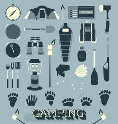 Camping and outdoors icons and symbols vector