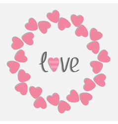 Round love frame with pink hearts isolated flat vector