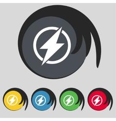 Photo flash sign icon Lightning symbol Set of vector image