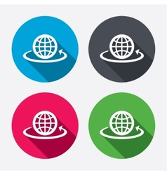Globe sign icon round the world arrow symbol vector