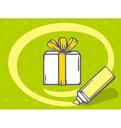 Marker drawing circle around gift box on vector