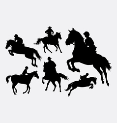 Male and female people riding horse sport action s vector