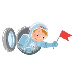 Funny boy cosmonaut or astronaut with flag vector