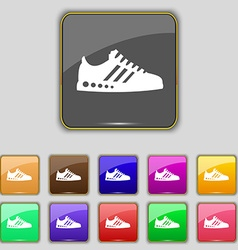 Sneakers icon sign set with eleven colored buttons vector