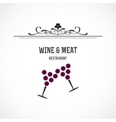 Wine and meat restaurant vector