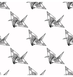 Origami ornate crane seamless pattern vector image