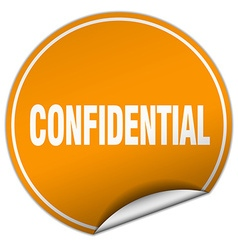 Confidential round orange sticker isolated on vector
