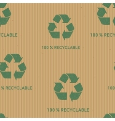 Kraft paper with green recycle sign vector