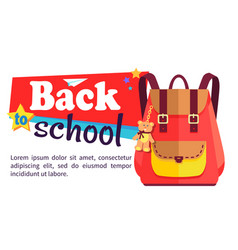 Back to school poster with schoolchild rucksack vector