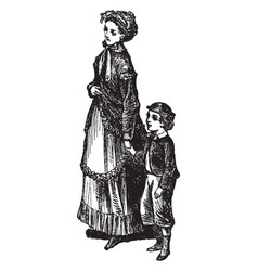 Boy and mother vintage vector