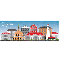 Cayenne Skyline with Color Buildings vector image vector image