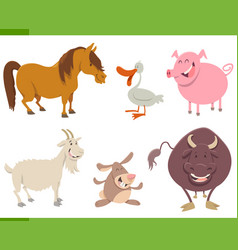 cute farm animal characters set vector image