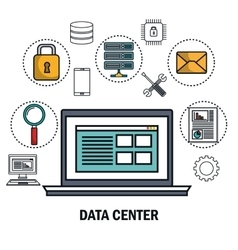 Data center laptop digital virtual isolated vector