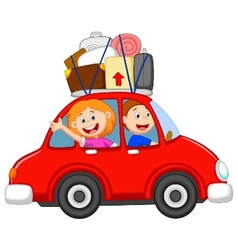 Family cartoon traveling with car vector