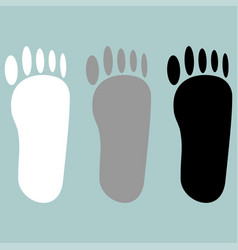 Footprint white grey black icon vector