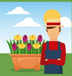 Gardener with arms folded in the garden with vector
