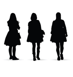 Girl figure silhouette set on white vector