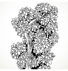 Graphically drawing black ink tree with graceful vector