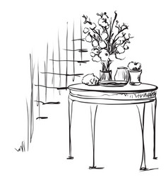 Hand drawn dinner tea wares romantic breakfast vector