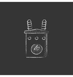 High voltage transformer drawn in chalk icon vector