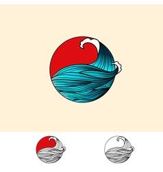 Japan Style Ocean Water Logo vector image vector image