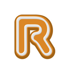 letter r gingerbread peppermint honey-cake font vector image vector image