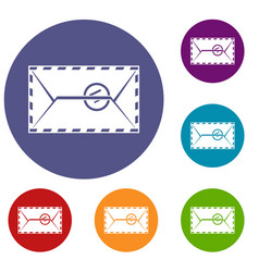 Mail envelope with a stamp icons set vector
