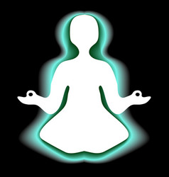 meditating with green aura vector image