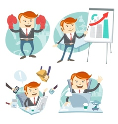 Office man hipster set showing a presentation vector