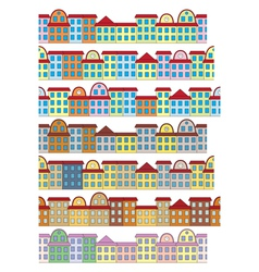 rows of color buildings vector image vector image