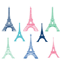 set of different eiffel tower landmarks vector image