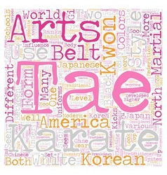 The difference between karate and tae kwon do text vector