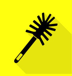 Toilet brush doodle black icon with flat style vector