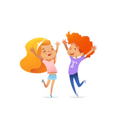 Two smiling redhead children cheerfully jump and vector
