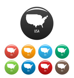 Usa map in black set simple vector