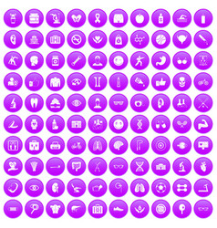 100 health icons set purple vector
