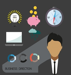 Business direction infographic with icons persons vector