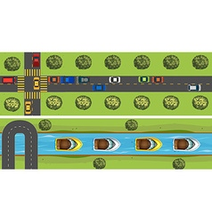 Aerial scene of road full of cars vector