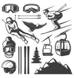 Nordic Skiing Elements Set vector image