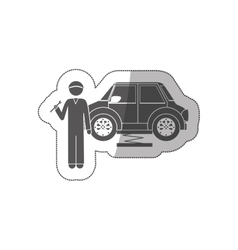 Sticker silhouette mechanic with spanner and car vector