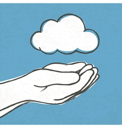 Cloud with hands vector