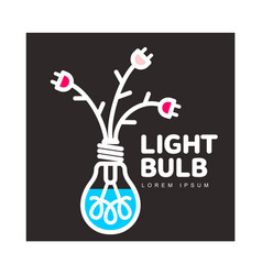 light bulb logo with flowers formed by cables and vector image