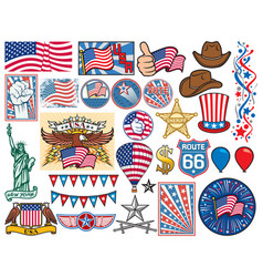 usa icons set vector image