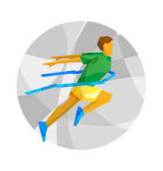 winning runner with abstract patterns vector image