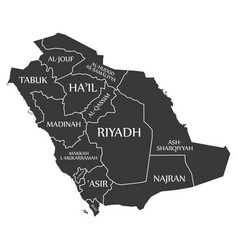Saudi arabia map labelled black vector