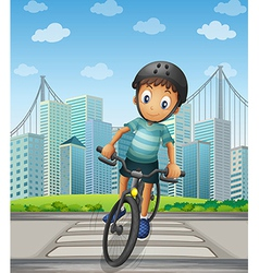 A boy biking in the city vector