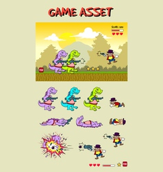 Dinosaur attack game asset vector